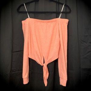 Heather Orange Long Sleeve Off Shoulder Crop Top